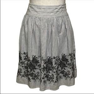 London Jean Embroidered Striped Chino Skirt